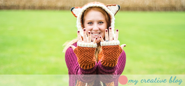 Moss Stitch Fingerless Mittens