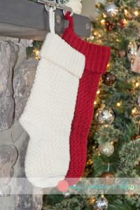 Moss Stitch Christmas Stockings