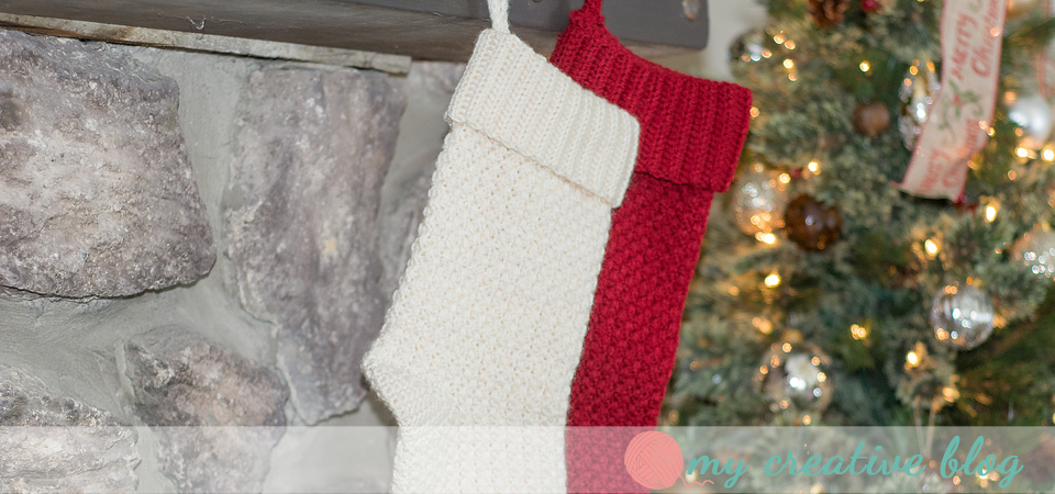 Moss Stitch Christmas Stockings