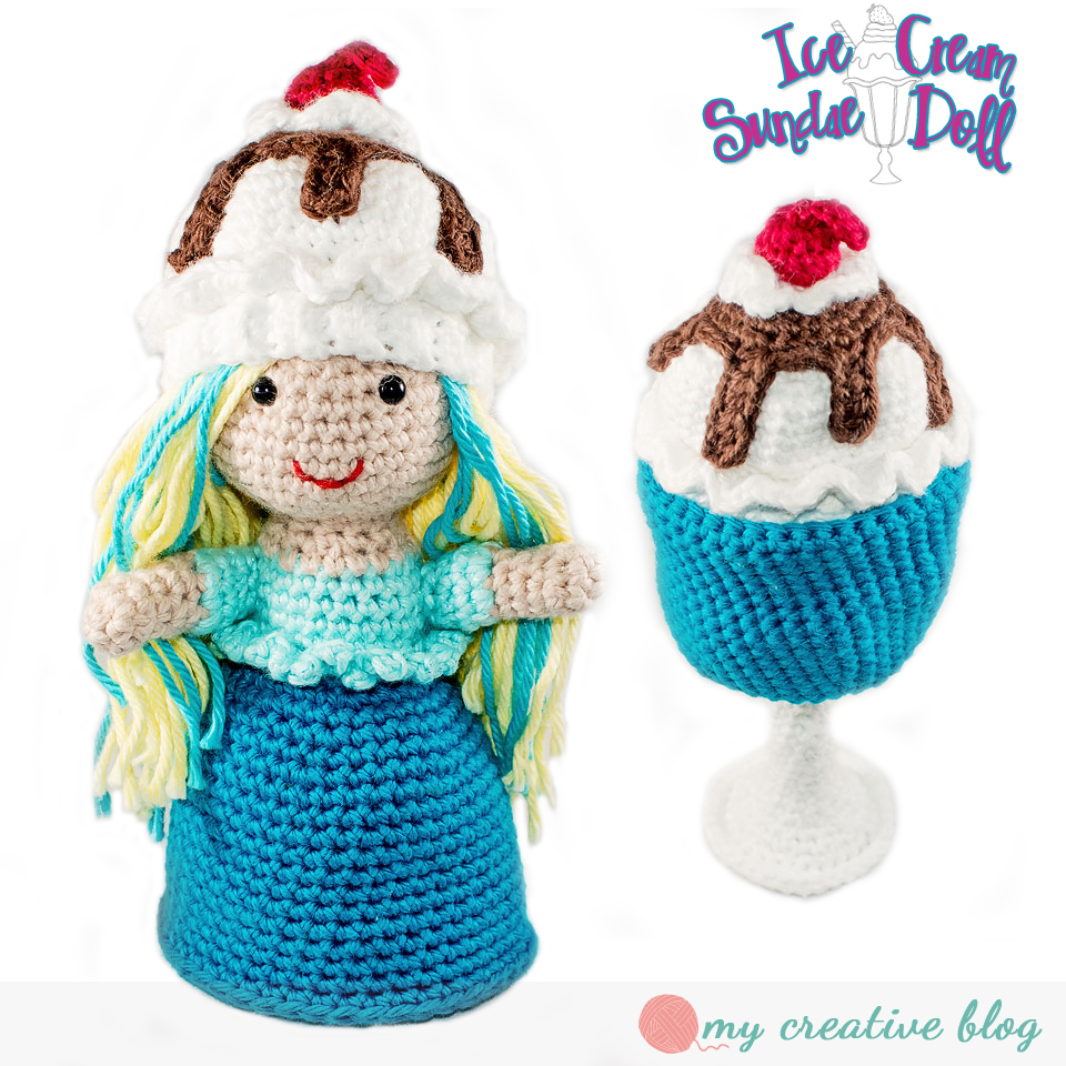 Amigurumi pattern for an ice cream heart souvenir. Valentine's Day ... | 960x960