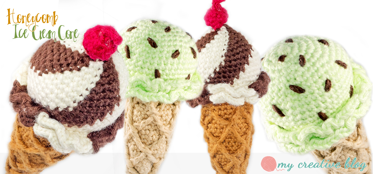 Honeycomb Ice Cream Cone Crochet Pattern My Creative Blog