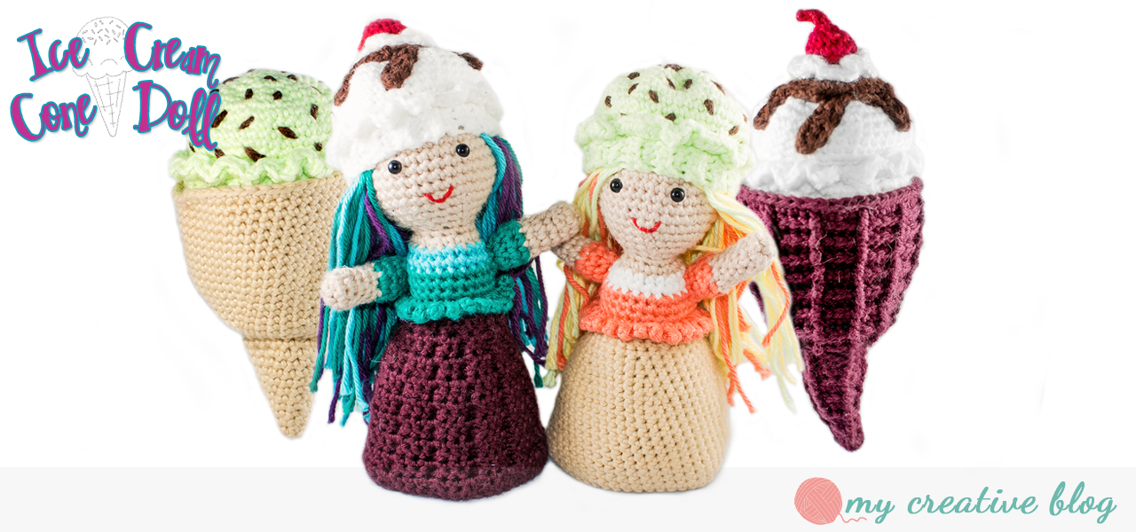 Ice Cream Cone Doll Crochet Pattern