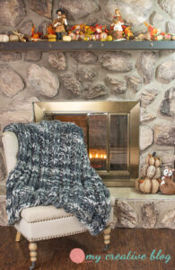 Double Ribbed Knit Throw and Fireplace