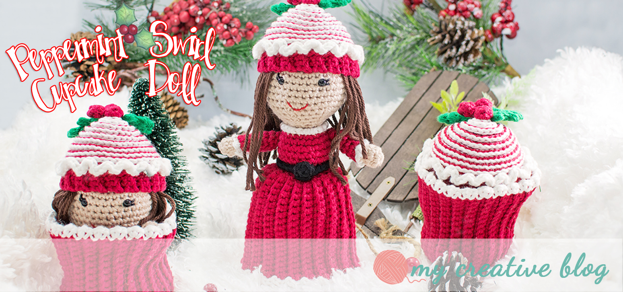 Peppermint Swirl Cupcake Doll Crochet Pattern