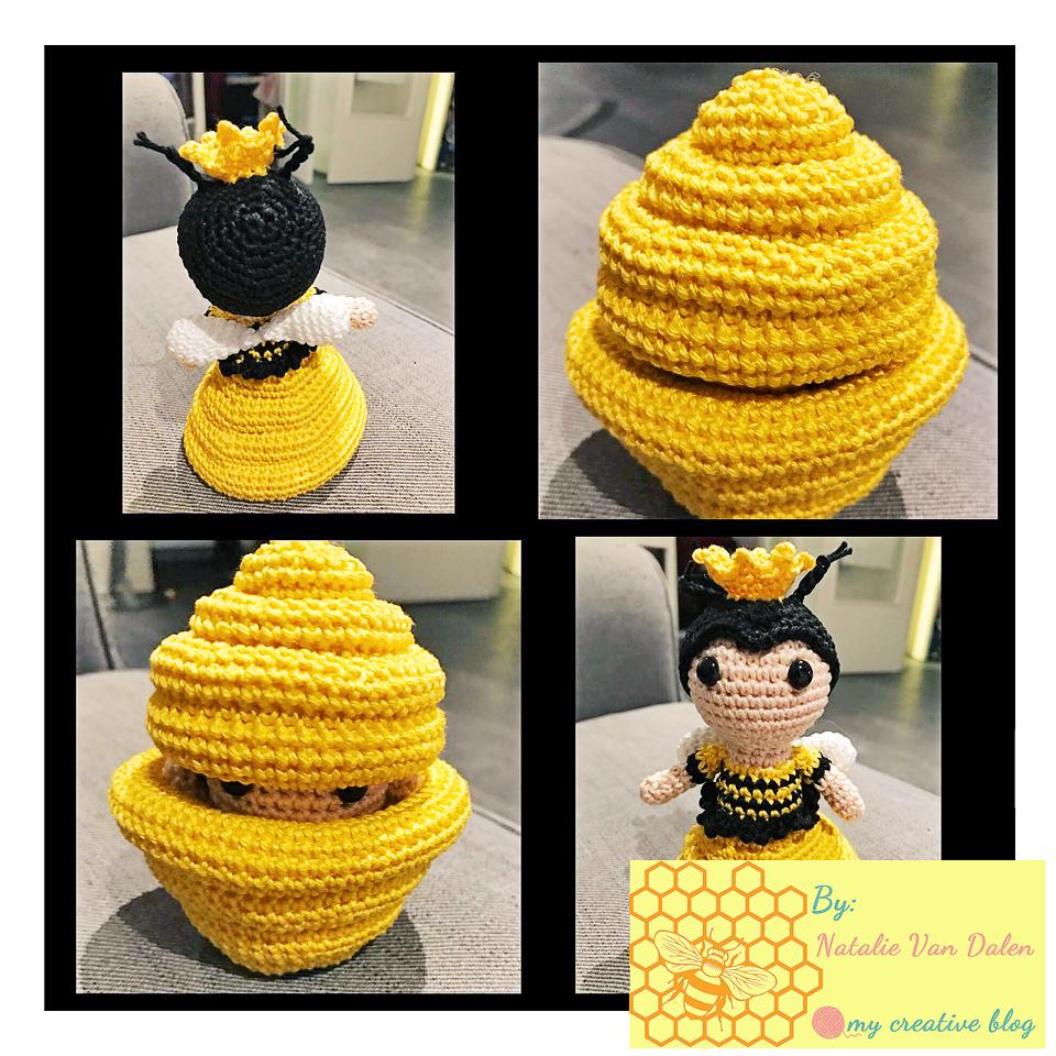 CROCHET PATTERN: Amigurumi Honey Bee in Crochet Beehive (English ... | 960x960
